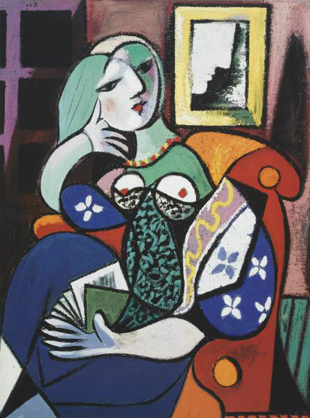 picasso woman with book