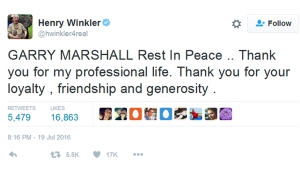 garry marshall henry winkler tweet