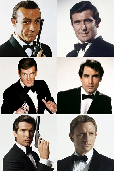 james bond sean connery george lazenby roger moore timothy dalton pierce brosnan daniel craig 400x600