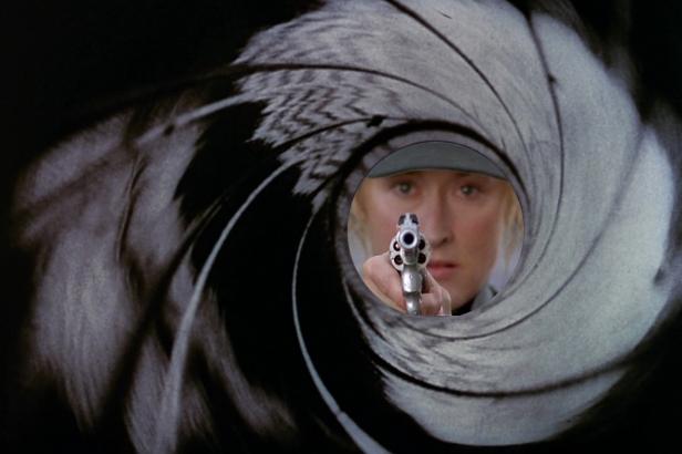 meryl streep with gun as james bond